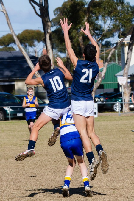 Liakakos (21) in Victoria's match against ACT in the SSA AFL 12 and Under Carnival. Photo: Cherie Dear.